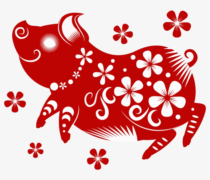 Happy Paper-cut Pigs Celebrate New Year's Day 2019 - Chinese New Year 2019 Year Of The Pig, transparent png #9071268