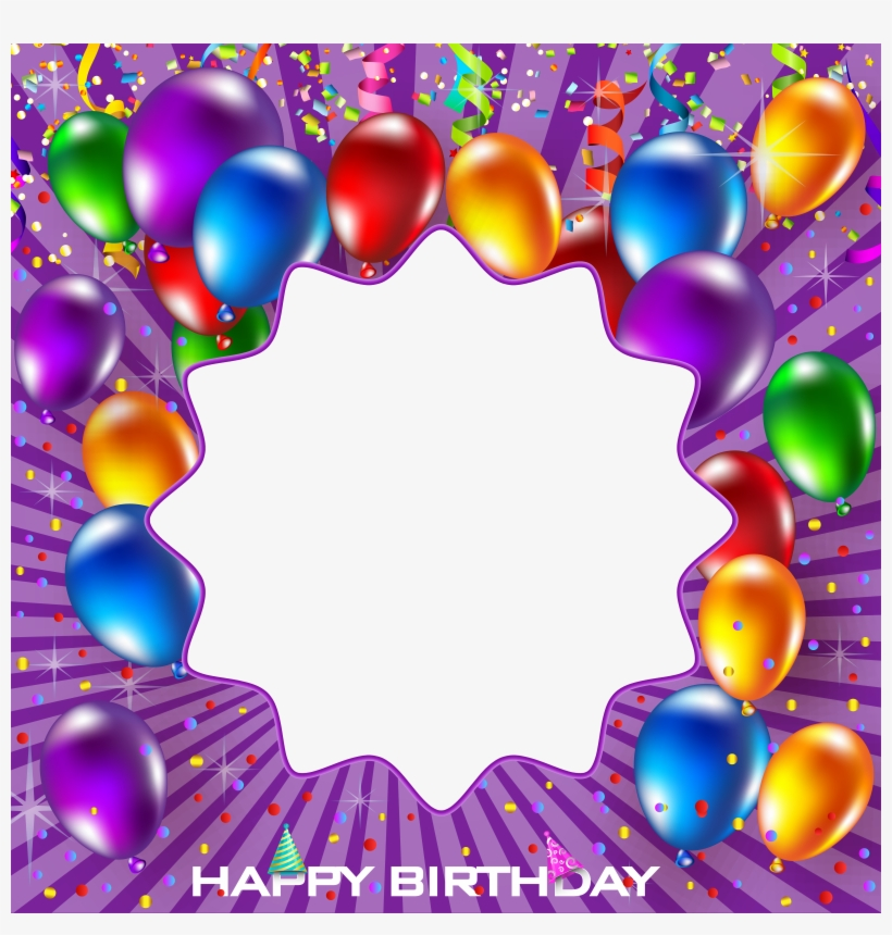 Happy Birthday Purple Png Frame - Birthday Frame Png, transparent png #9073044