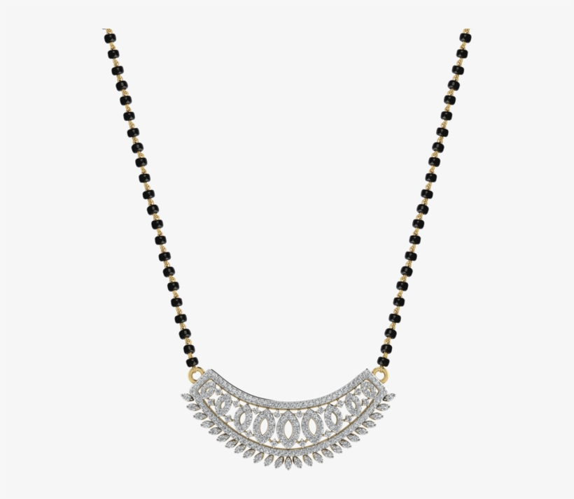 Womens 18 Karat Gold And Diamond Mangalsutra Pendant - Latest Mangalsutra Pendant Designs In Diamond, transparent png #9073768