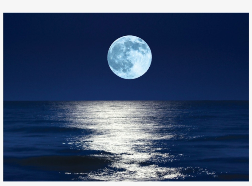 #sea #moon #supermoon #ocean #beach #night #sky #water - Full Moon Party Moon, transparent png #9091923