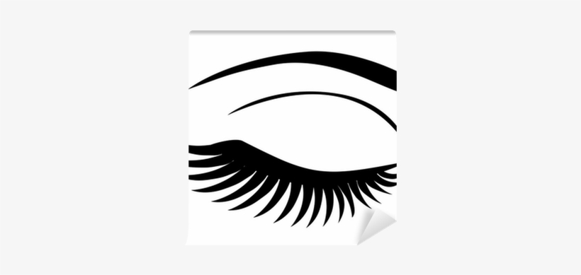 Vector Eye Closed With Long Lashes Wall Mural • Pixers® - Eyelash Extensions, transparent png #910114