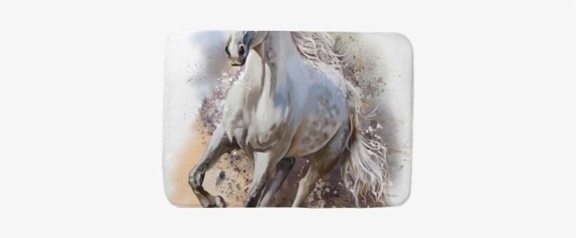 White Horse Runs Watercolor Painting Bath Mat • Pixers® - White Horse Running Painting, transparent png #910300