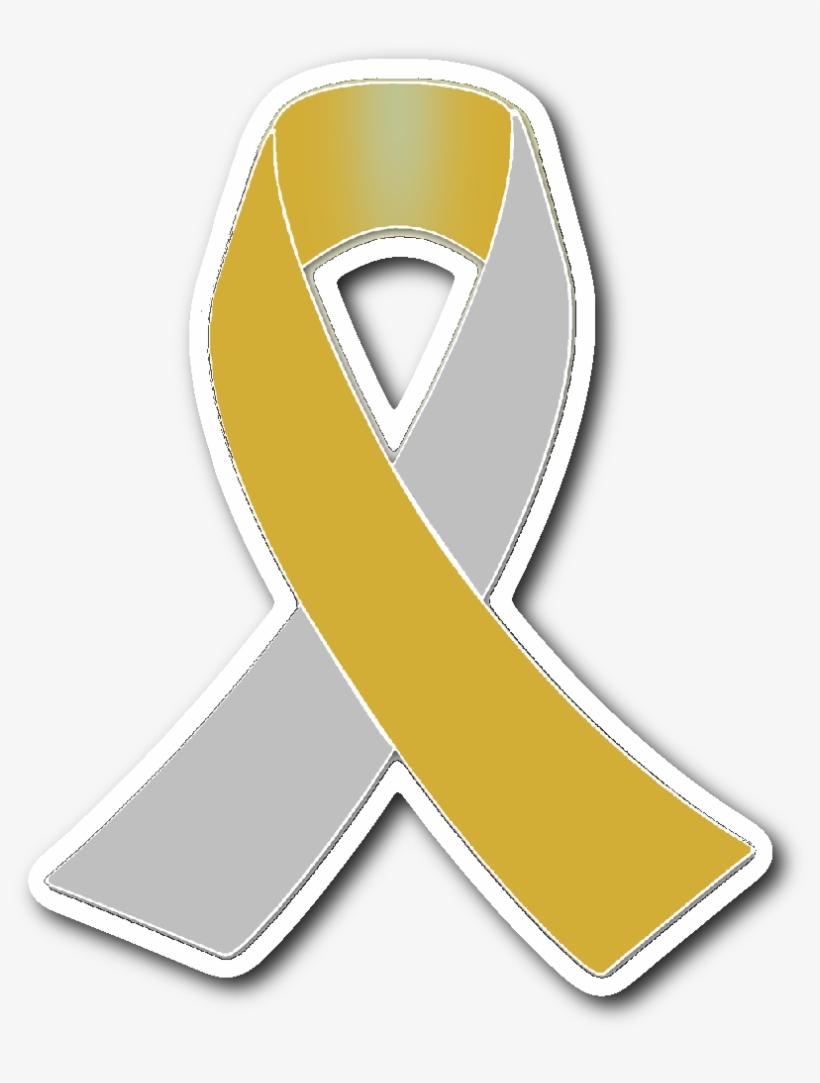 Silver And Gold Awareness Ribbon Sticker - Awareness Ribbon, transparent png #911792