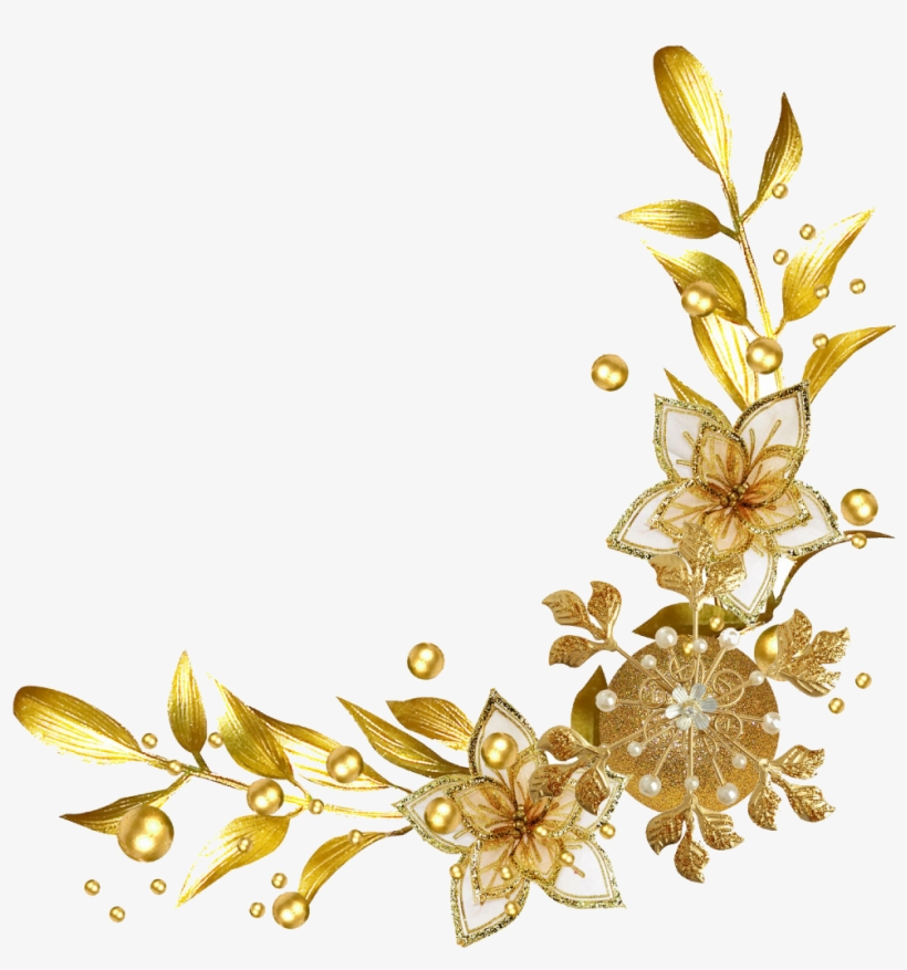 Gold Golden Divider Ribbon Schleife Red Birthday Valent - Gold Flowers Border Png, transparent png #913795