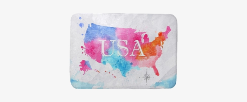 Watercolor Map United States Pink Blue Bath Mat • Pixers® - You Re A Puppet No You Re, transparent png #915356