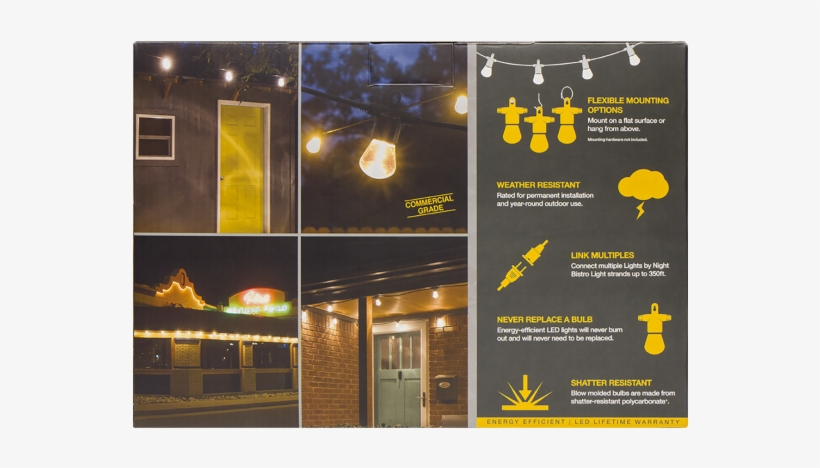 Lights By Night Led Bistro String Lights In Package - Lights By Night Led Bistro String Lights, transparent png #917953
