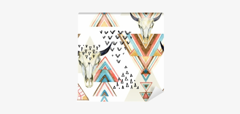 Abstract Watercolor Animal Skull And Geometric Ornament - Watercolor Background Aztec, transparent png #919090