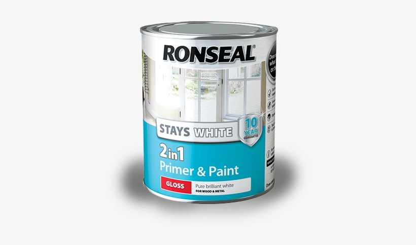Stays White 2in1 Primer 750 2015 - Ronseal Stays White 2 In 1 Trim Paint Gloss 750ml, transparent png #919331