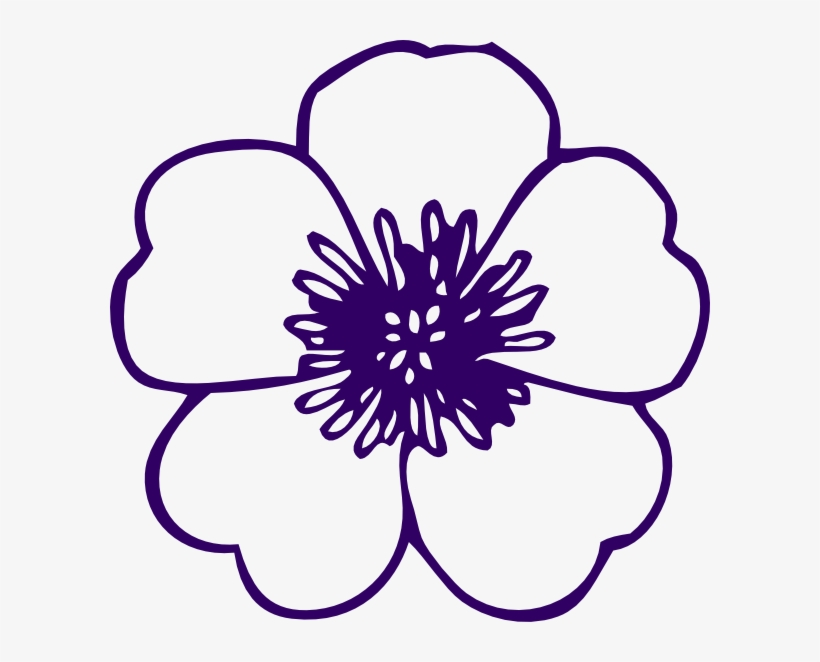 Purple Rose Clipart Outlined - Flower Clipart Black And White Outline, transparent png #919727