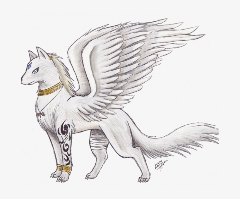 Awesome Drawings Anime Wolf With Wings Wolf With Wings - Drawings Of Dogs Anime, transparent png #9101402