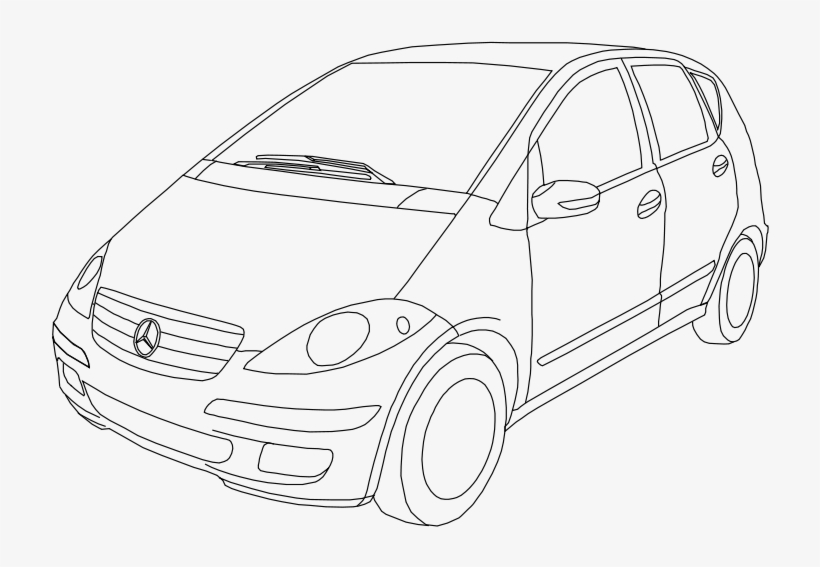 Free Class A W169 Outline Free Blue Car - Drawing Of Car For Class 4, transparent png #9102983