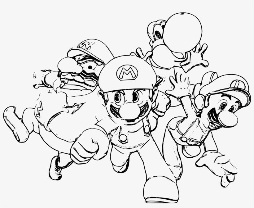 Coloriage Mario Luigi Yoshi Wario À Imprimer Et Colorier - Dessin Mario Et Luigi, transparent png #9106527