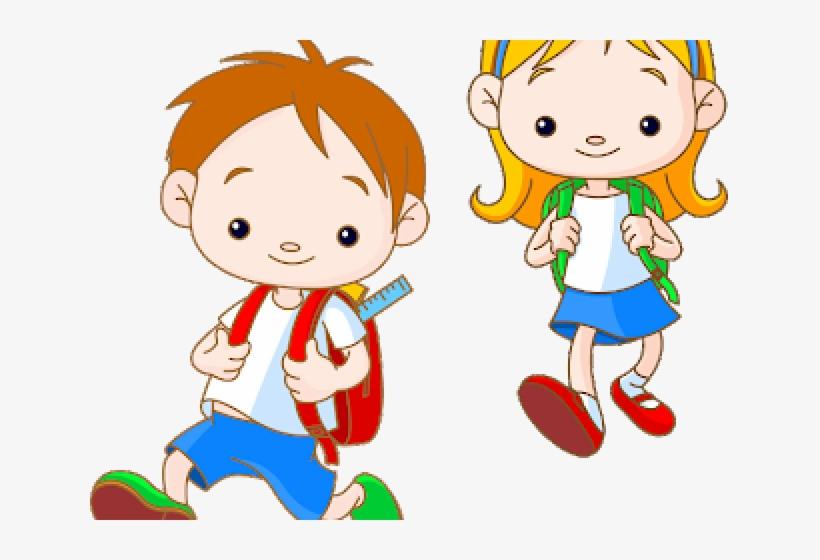 School Children Cartoon - Cartoon Small School Kids, transparent png #9117160