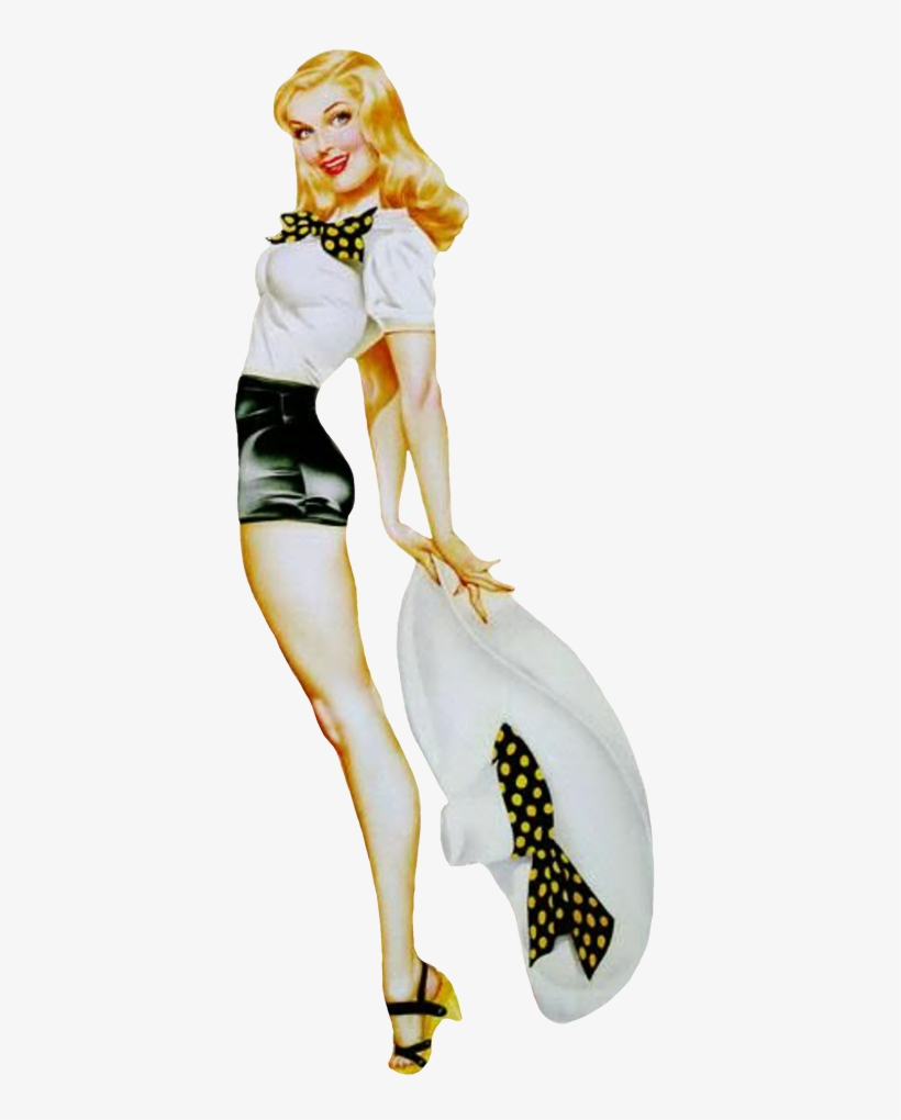 1950th Girl With Hat - 50's Pin Up Girl Tattoos, transparent png #9195459