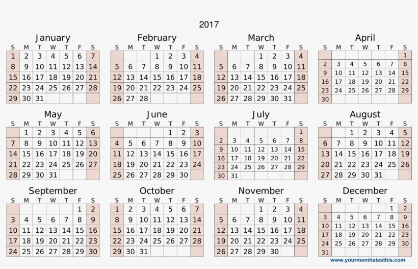 2017 Calendar Download - Calendar 2018 High Quality, transparent png #9198345