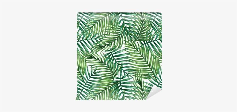 Watercolor Tropical Palm Leaves Seamless Pattern - Tropical Leaves Pattern Watercolor, transparent png #920326