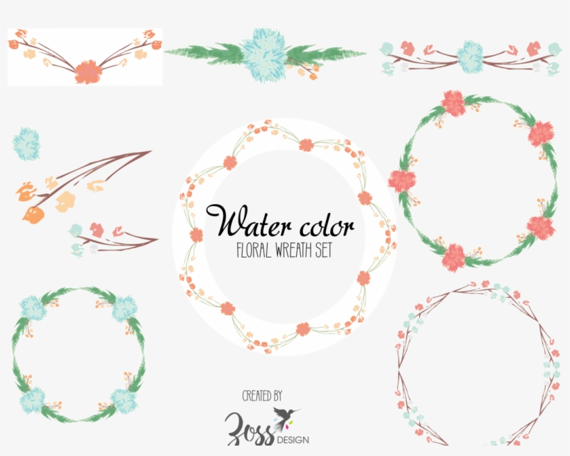 Water Color Wreath Set Example Image - Watercolor Painting, transparent png #922234