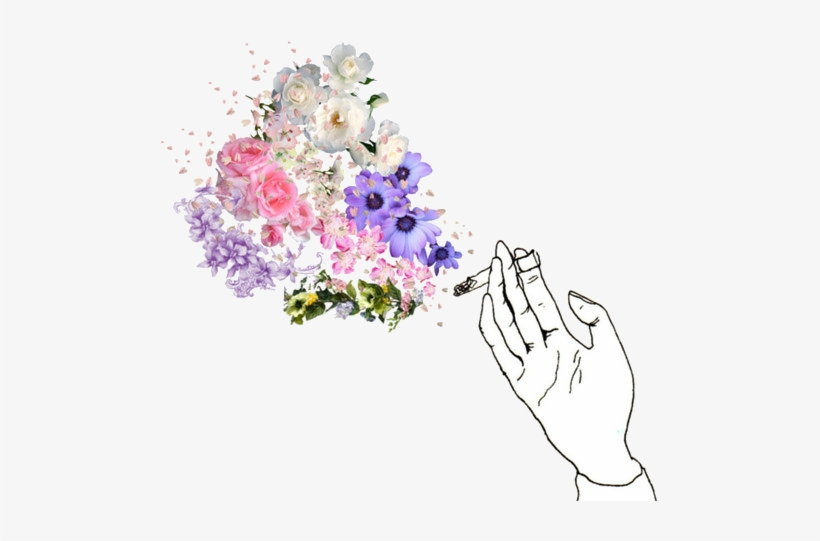 Cigarette, Flowers, And Smoke Image - Cigarette And Flower Drawing, transparent png #922866