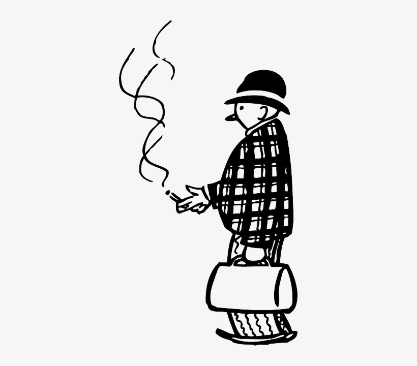 Man, Person, Smoking, Smoke, Suitcase, Funny, Cigarette - Smoking Clipart Black And White, transparent png #923222