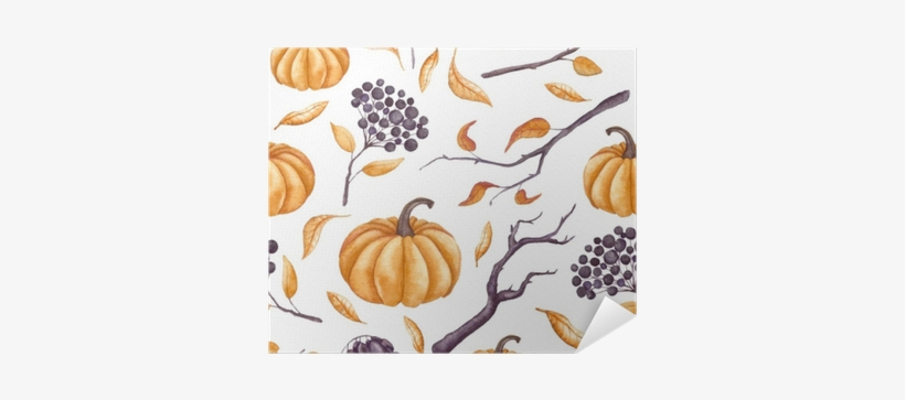 Seamless Pattern Of Watercolor Pumpkins, Leaves And - Watercolor Painting, transparent png #923780
