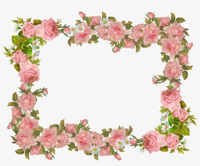 Pink Rose Computer And Printer - Vintage Flower Frame Png, transparent png #925327