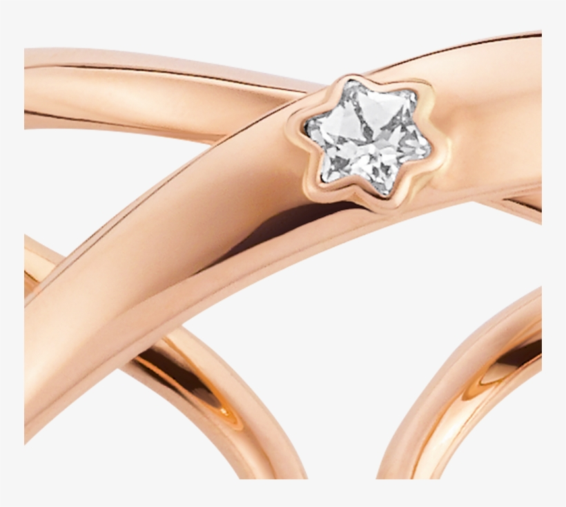 Twisted Shape In Warm Rose Gold And Diamond Sparkles - Montblanc Ring In Pink Gold With Diamond In Sett, transparent png #929571