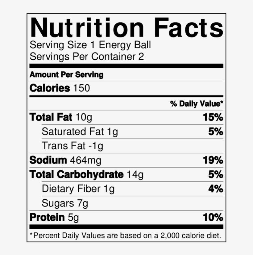 Macha Energy Balls Nutritionlabel - Beer Nuts Hot Bar Mix 32 Oz. Sup Bag, transparent png #929901