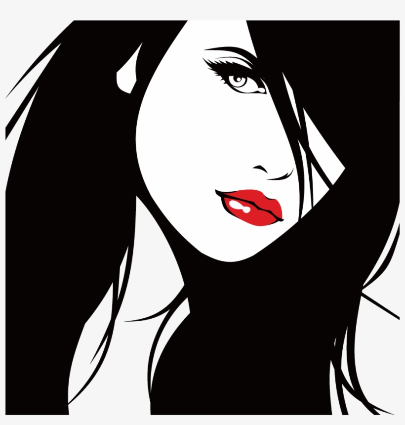 Illustration Beautiful Lips Transprent Png Free Download - Silhouette Girl Face Vector, transparent png #9203133