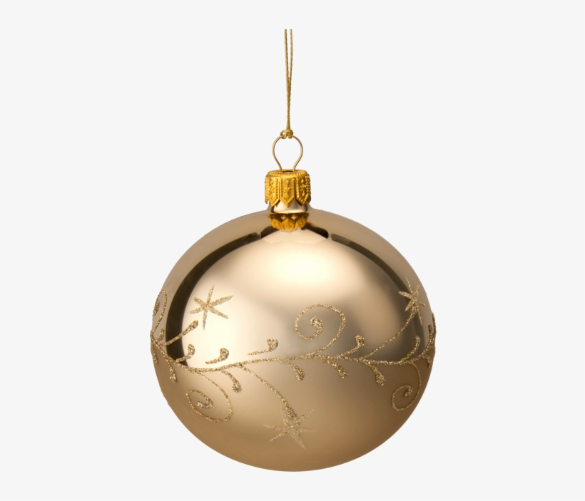 Glass Bauble Gold With Goldglimmer, 8cm - Christmas Ornament, transparent png #9204559