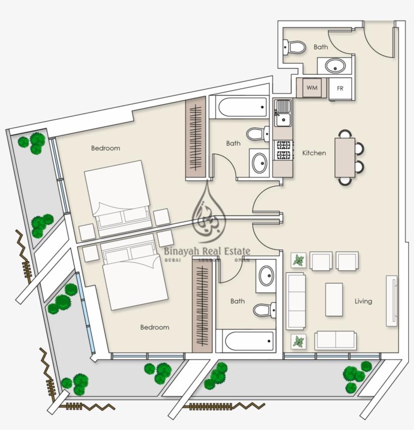 Platinum Residences 2 Bedroom Apartment Type 1 Floor Floor Plan Dubai Apartment Free Transparent Png Download Pngkey