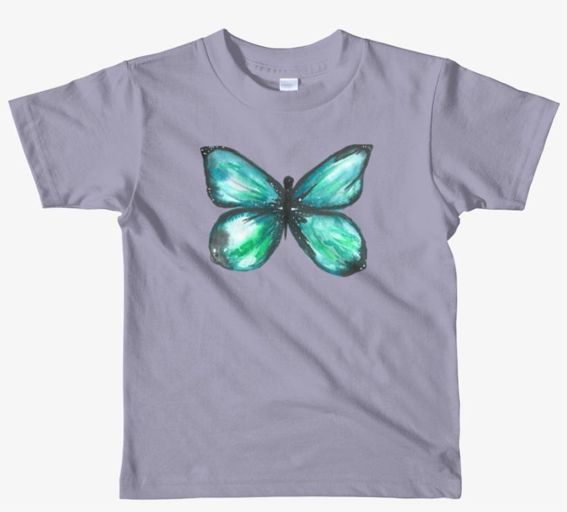 Green Butterfly Short Sleeve Kids T-shirt - T-shirt, transparent png #9206305