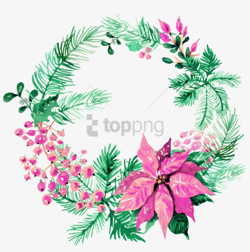 Free Png Download Watercolor Christmas Wreath Png Images - Watercolor Christmas Wreath Clipart, transparent png #9209688