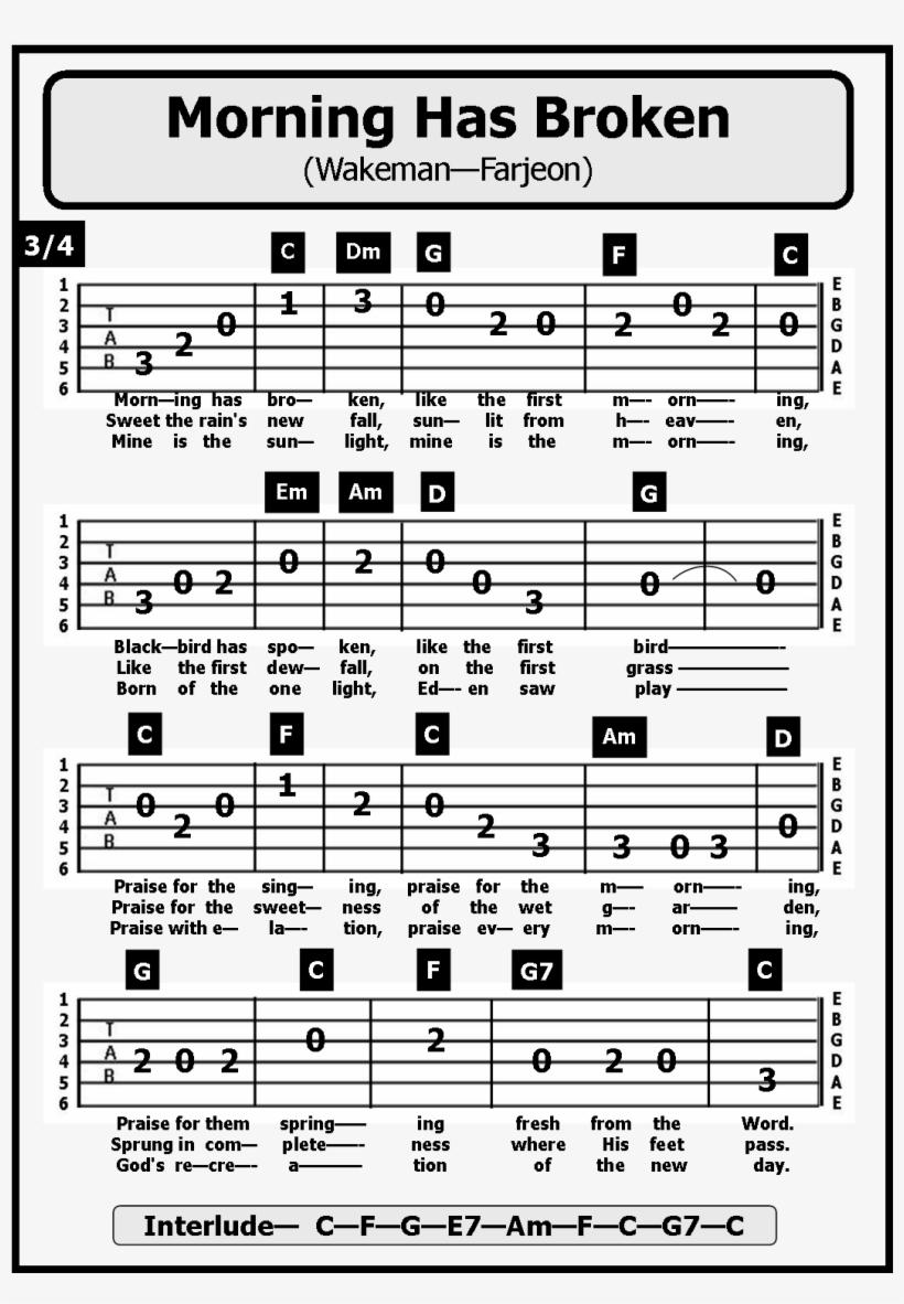 Banner Freeuse Stock Guitar Tab Songs Morning Has - Morning Has Broken Key Notes, transparent png #9212973