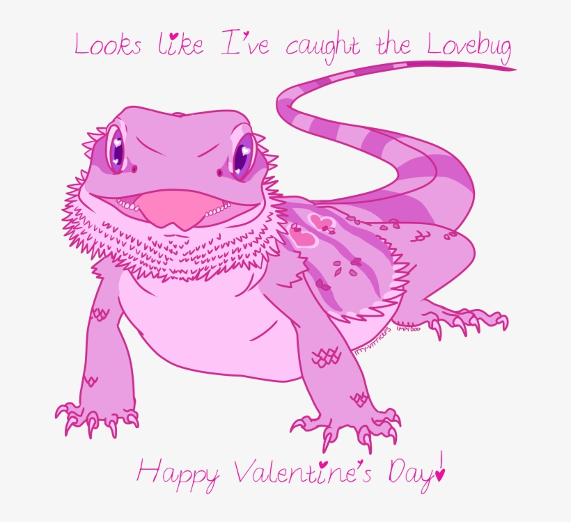 Cliparts For Free Download Reptile Clipart Bearded - Reptile Valentines Day Card, transparent png #9285500