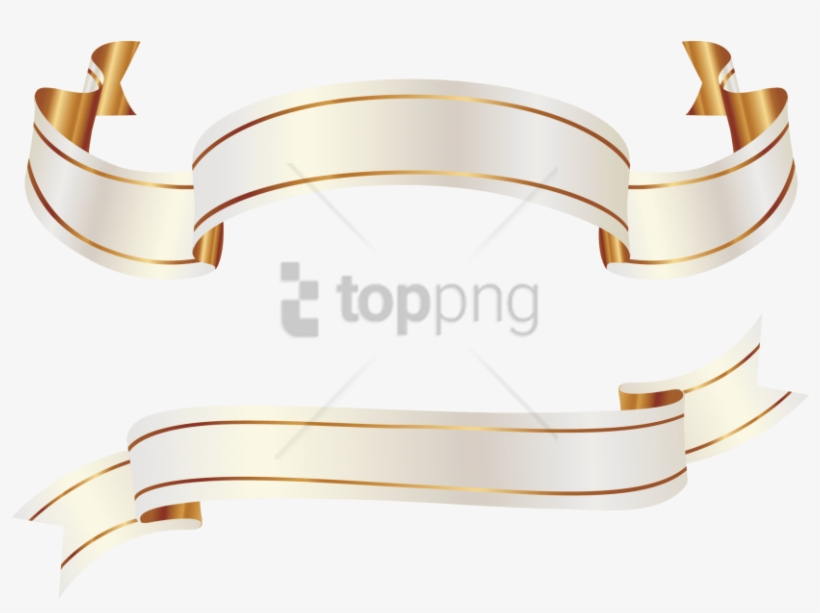 Free Png Gold Banner Ribbon Png Png Images Transparent - White Gold Ribbon Vector, transparent png #9298874