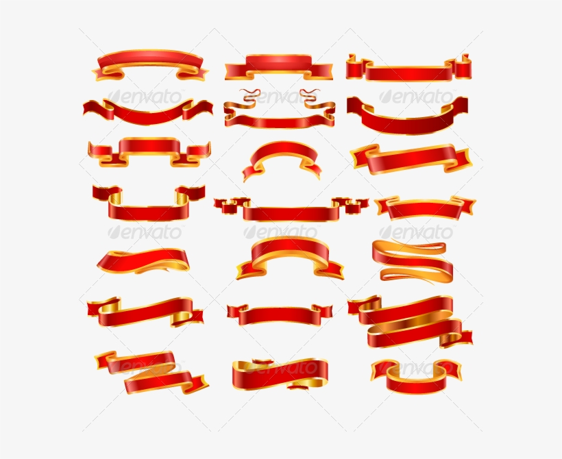 Ribbon 82 Copy - Banner Red And Gold, transparent png #9299090