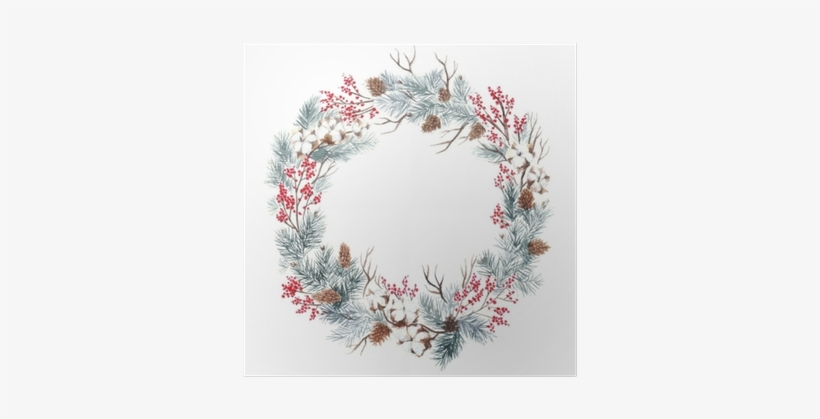 "Round Frame For Christmas Cards And Winter Design Illustration - Designs Direct Christmas Family Wreath 20"" X 20"" White, transparent png #930199"