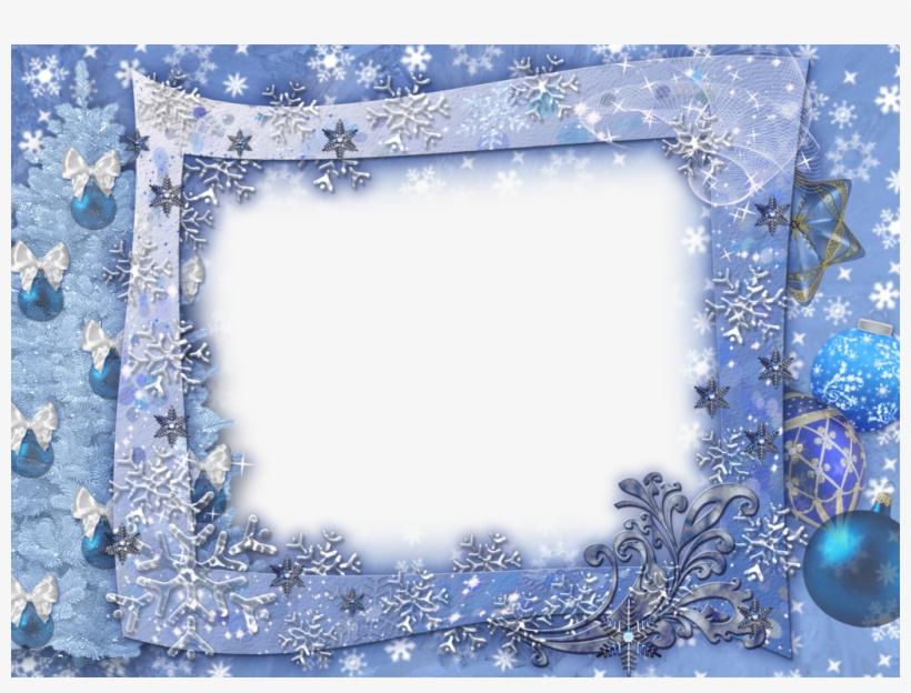 Blue Transparent Christmas Photo Frame With Snowflakesl - Christmas Border Png Blue, transparent png #930528