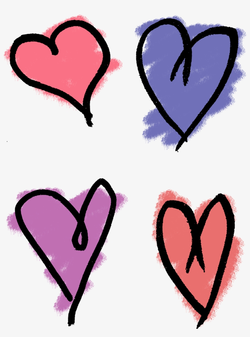 Heart Drawing Clip Art - Hand Drawn Hearts Png, transparent png #931940