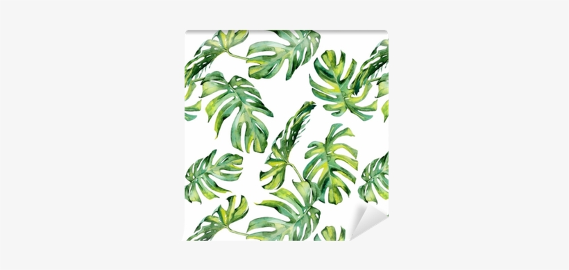 Seamless Watercolor Illustration Of Tropical Leaves, - Watercolour Tropical Leaf Vector Free, transparent png #933431