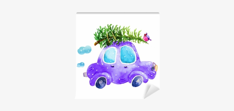 Watercolor Winter Retro Car With Christmas Tree And - Christmas Tree On Car Drawing, transparent png #935881