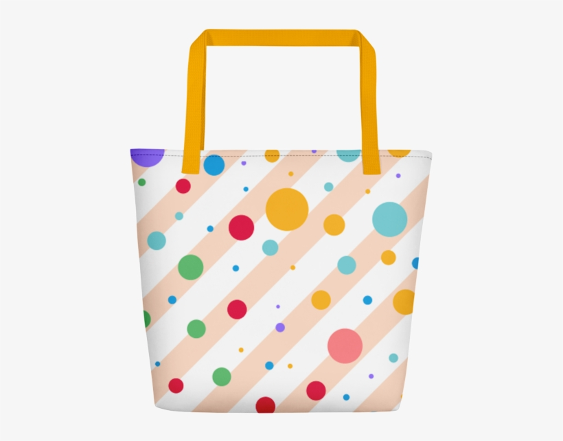 Multi Colored Polka Dots And Stripe Pattern Beach Tote - Tote Bag, transparent png #9308878