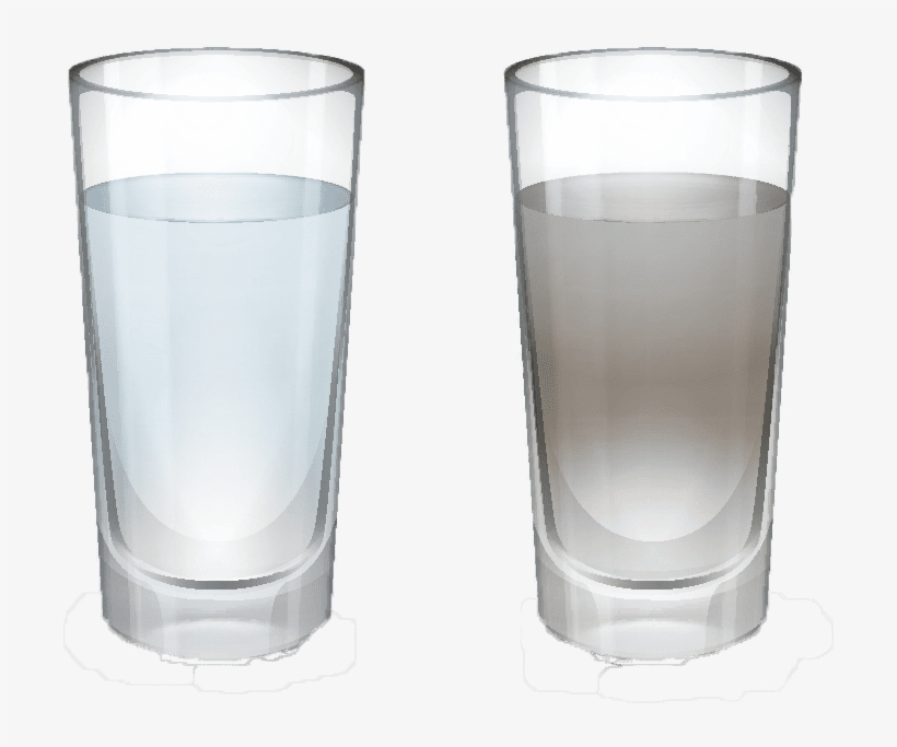 A Clean Glass Of Water Vs A Dirty Glass Of Water - Pouring Clean Water Into Dirty Water, transparent png #9319552