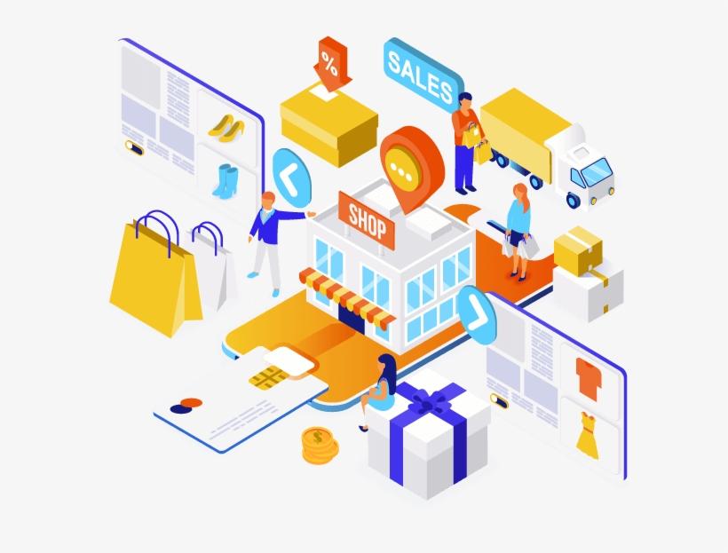 E-commerce Solutions - Isometric Design Online Shop, transparent png #9329236