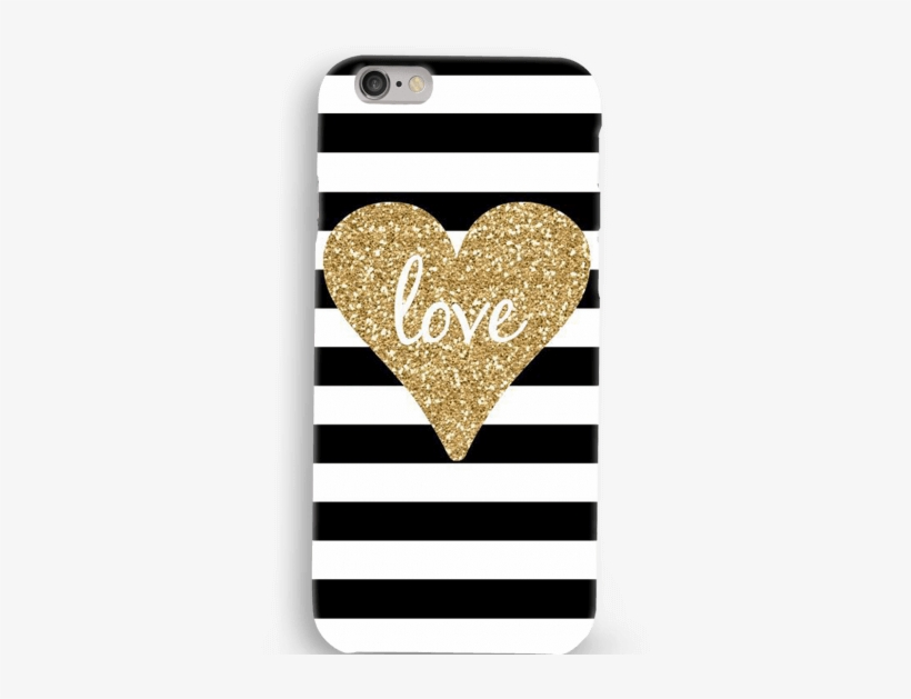 B&w Stripes With Golden Heart Mobile Case - Glitter Love Gold And Black, transparent png #9346184