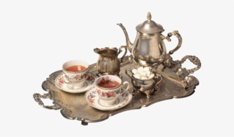 Tea Set, Polyvore, Filler, Victorian, Vintage, Silver, - Теплого Зимнего Утра, transparent png #9354952