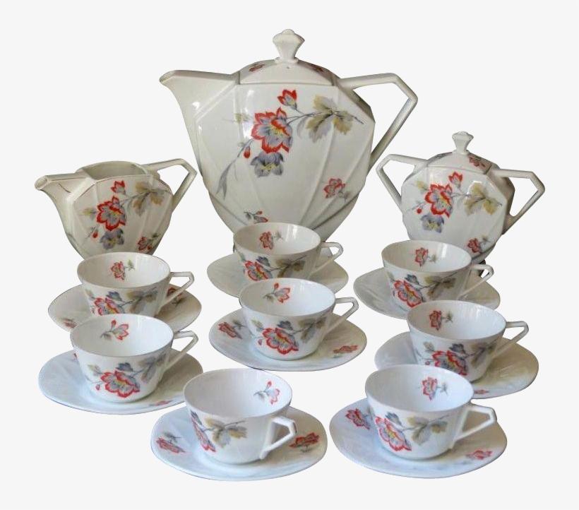 Luxury Art Deco Porcelain Tea Set - Saucer, transparent png #9363877