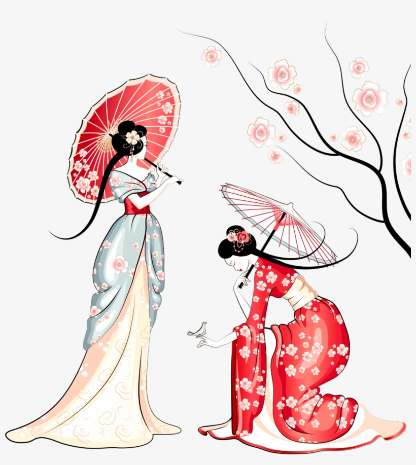 Cherry Blossom Cartoon - Cartoon Cherry Blossoms Trees, transparent png #9376262