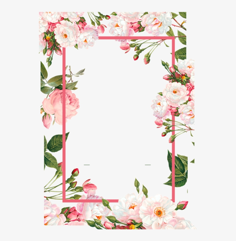 Pink Borders Flower Free Png Hq - Flower Watercolor Frame Png, transparent png #9387958