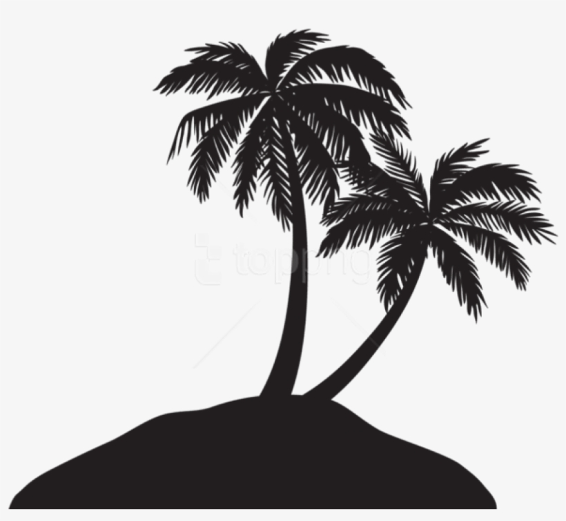 Free Png Island With Palm Trees Silhouette Png - Transparent Palm Tree Silhouette Png, transparent png #9392378